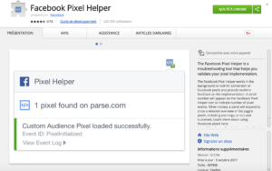 Extension Chrome Facebook Pixel Helper