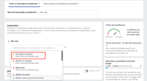 Facebook Evènement Conversion