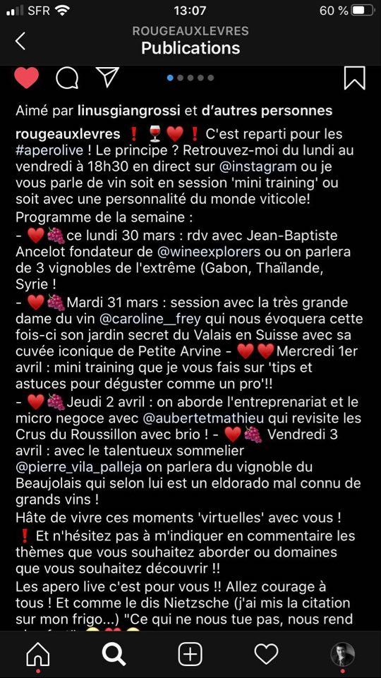 légende publication Instagram Rouge aux Lèvres Planification de directs