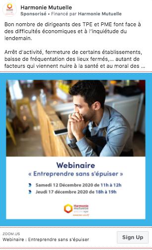 webinaires_harmonie mutuelle publication sponsorisée facebook